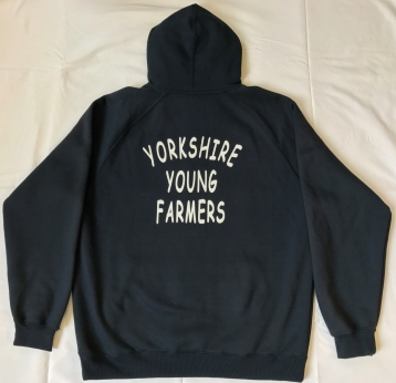 """Yorkshire FYFC Hoody - navy blue hoody with white embroidered logo and printed white """"Yorkshire Young Farmers"""" on reverse"""
