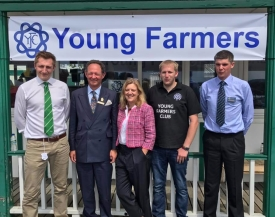 Left to Right: James Mills,NFU Advisor; Charlie Forbes Adam, Escrick Park Owner and CLA Representative; Charlotte Smith, Broadcaster and NFYFC President; Michael Wood, East Riding YFC and Ecologist; John Craddock, Yorkshire YFC Chairman and Farmer